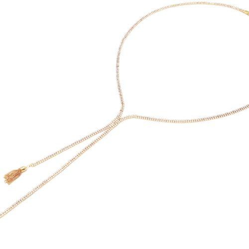 Sautoir-Collier-Style-Cravate-Bande-2-Rangs-Strass-et-Pompons-Metal-Dore