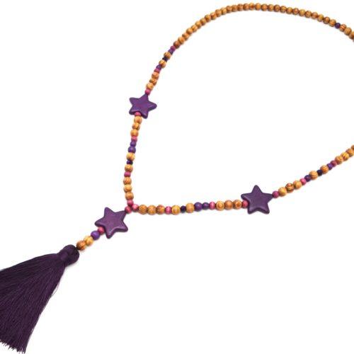 Sautoir-Collier-Perles-Bois-et-Effet-Marbre-avec-Triple-Etoiles-Pierre-et-Pompon-Violet-Fonce