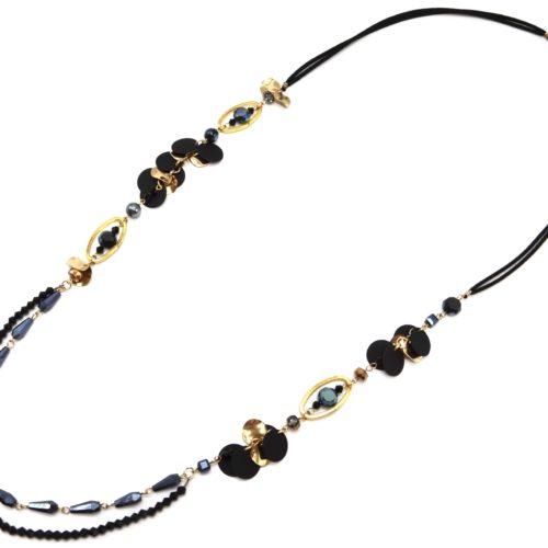 Sautoir-Collier-Cordons-avec-Perles-Ovales-et-Multi-Pieces-Metal-NoirDore