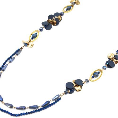 Sautoir-Collier-Cordons-avec-Perles-Ovales-et-Multi-Pieces-Metal-BleuDore
