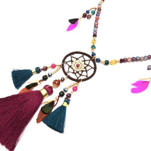 Sautoir-Collier-Perles-Verre-avec-Attrape-Reves-Plumes-et-Pompons-Multicolore-Dore
