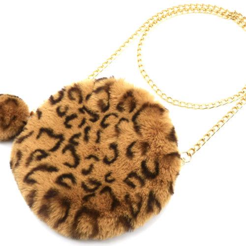 Pochette-Sac-Bandouliere-Rond-Fourrure-Synthetique-avec-Pompon-Leopard-Beige