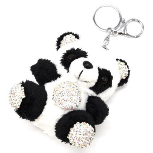 Porte-Cles-Bijou-de-Sac-Peluche-Panda-XXL-Noir-Blanc-avec-Strass