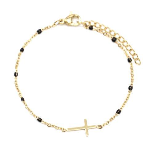 Bracelet-Fine-Chaine-Mini-Perles-Email-Noir-avec-Croix-Acier-Dore