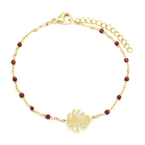 Bracelet-Fine-Chaine-Mini-Perles-Email-Bordeaux-avec-Feuille-Acier-Dore
