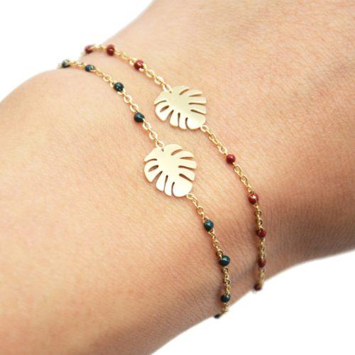 Bracelet-Fine-Chaine-Mini-Perles-Email-avec-Feuille-Acier-Dore
