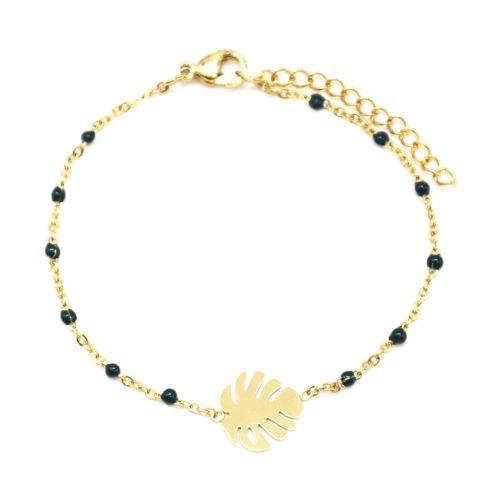 Bracelet-Fine-Chaine-Mini-Perles-Email-Vert-Sapin-avec-Feuille-Acier-Dore
