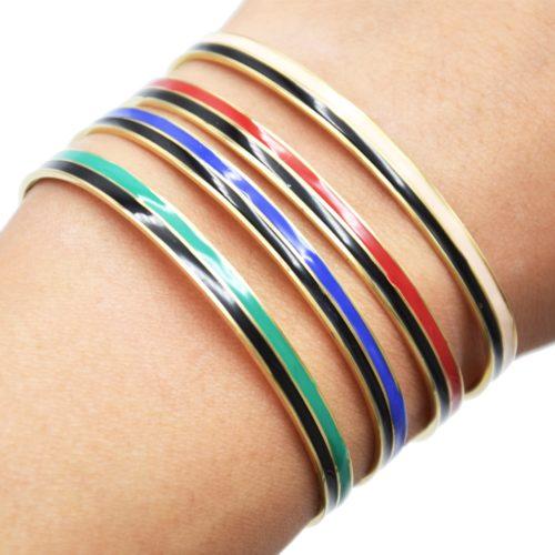 Bracelet-Jonc-et-Chaine-Acier-Dore-avec-Bandes-Email-Noir-Couleur