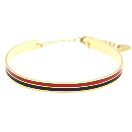 Bracelet-Jonc-et-Chaine-Acier-Dore-avec-Bandes-Email-Noir-Rouge