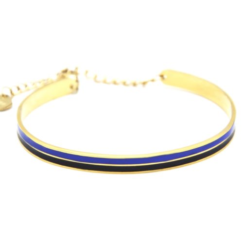 Bracelet-Jonc-et-Chaine-Acier-Dore-avec-Bandes-Email-Noir-Bleu