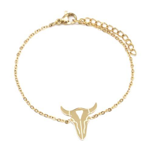 Bracelet-Fine-Chaine-avec-Charm-Tete-Buffle-Acier-Dore