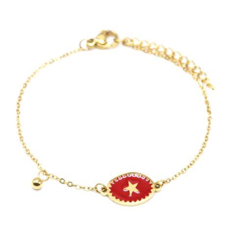 Bracelet-Fine-Chaine-Acier-Dore-avec-Ovale-Email-Rouge-Motif-Etoile