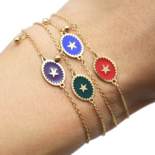 Bracelet-Fine-Chaine-Acier-Dore-avec-Ovale-Email-Couleur-Motif-Etoile