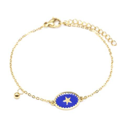 Bracelet-Fine-Chaine-Acier-Dore-avec-Ovale-Email-Bleu-Motif-Etoile