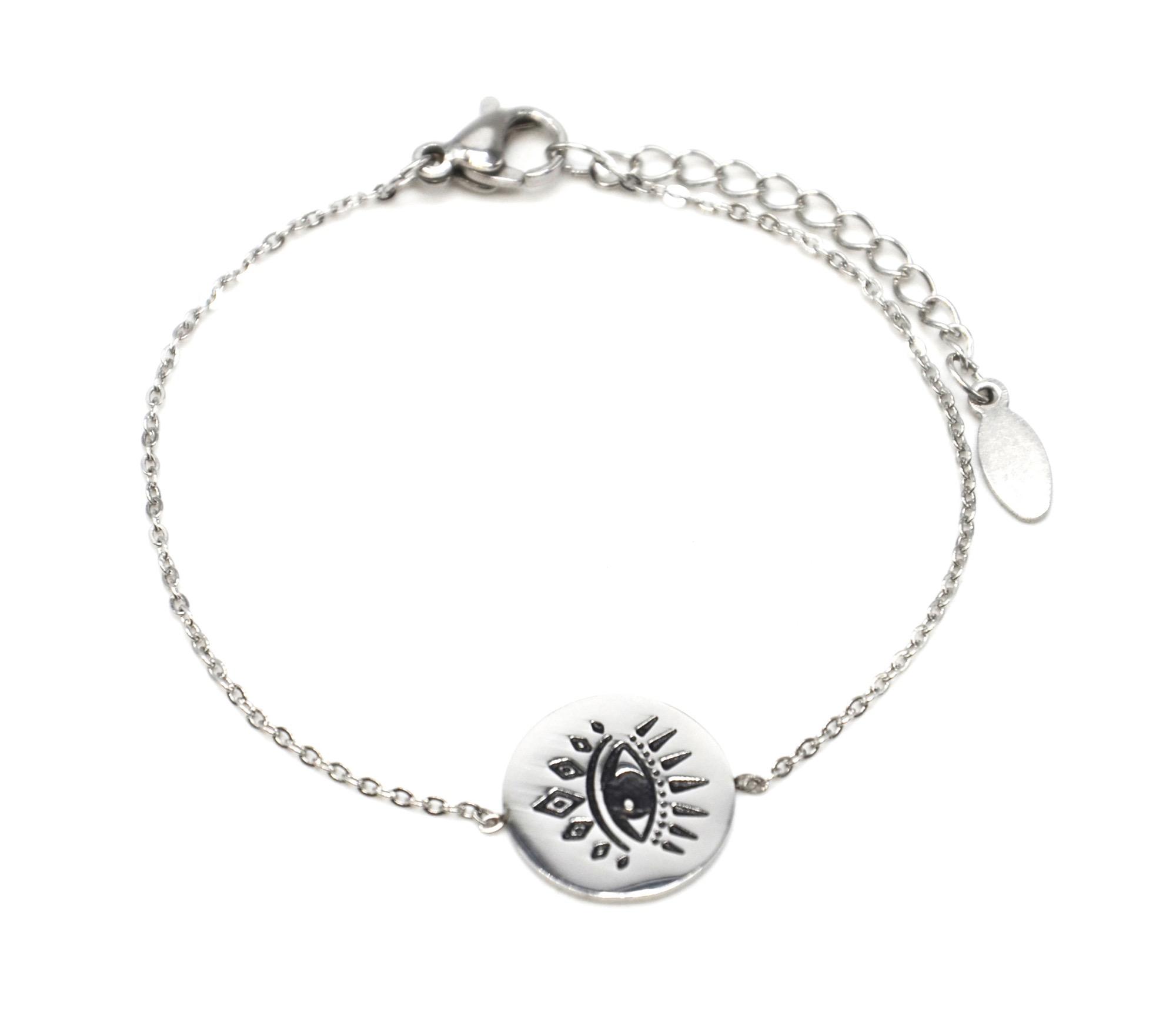 Bracelet Fine Chaîne avec Charm Tête Buffle Acier Argenté BC3284F