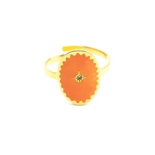 Bague-Fine-Acier-Dore-avec-Ovale-Email-Orange-Motif-Etoile-Polaire