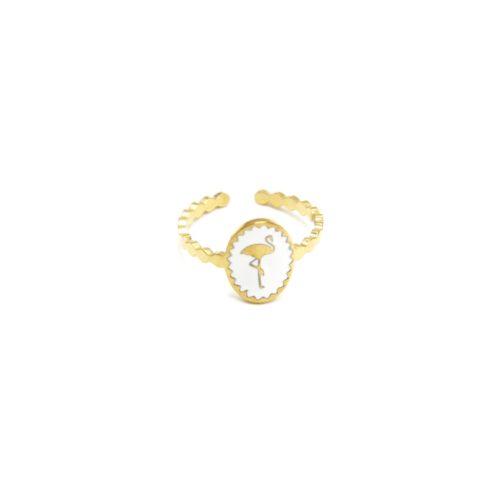 Bague-Fine-Ondulee-Acier-Dore-avec-Ovale-Email-Blanc-Motif-Flamant-Rose
