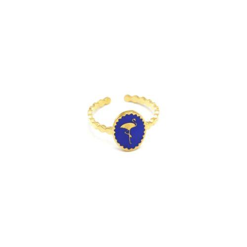 Bague-Fine-Ondulee-Acier-Dore-avec-Ovale-Email-Bleu-Motif-Flamant-Rose