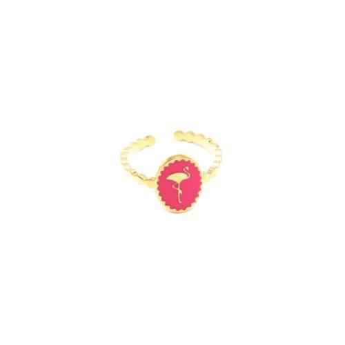 Bague-Fine-Ondulee-Acier-Dore-avec-Ovale-Email-Fuchsia-Motif-Flamant-Rose