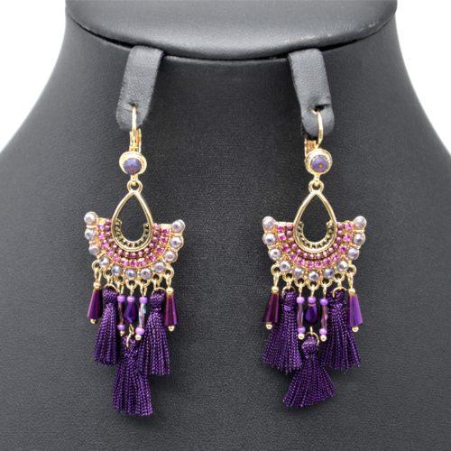 Boucles-dOreilles-Pendantes-Eventail-Perles-avec-Pompons-Fils-Violet