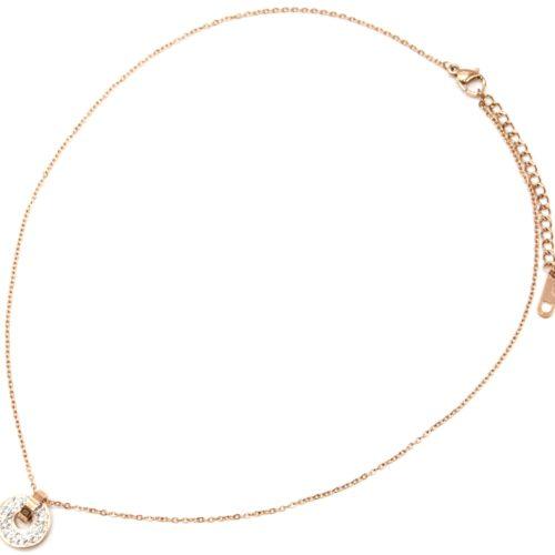 Collier-Fine-Chaine-avec-Pendentif-Anneau-Cercle-Acier-Or-Rose-et-Strass
