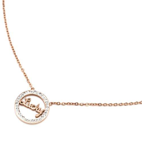 Collier-Fine-Chaine-avec-Pendentif-Cercle-Lucky-Acier-Or-Rose-Contour-Strass
