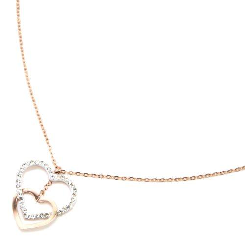 Collier-Fine-Chaine-avec-Pendentif-Double-Coeurs-Contour-Acier-Or-Rose-et-Strass