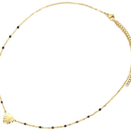 Collier-Fine-Chaine-Mini-Perles-Email-Bleu-Nuit-et-Feuille-Acier-Dore