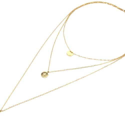 Collier-Triple-Chaine-avec-Medaille-Cercle-et-Etoile-Polaire-Acier-Dore
