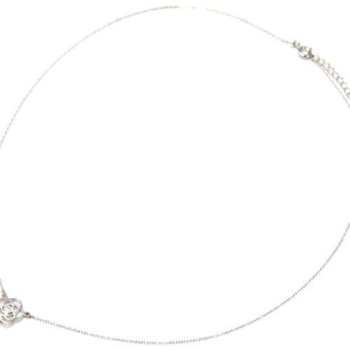 Collier-Fine-Chaine-Argent-925-Pendentif-Fleur-Ajouree-et-Perle-Ecru
