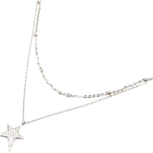 Collier-Double-Chaine-Argent-925-Pendentif-Etoile-Strass-Zirconium