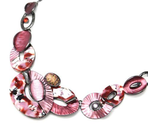 Collier-Plastron-Multi-Ovales-Email-Bordeaux-Resine-Motif-Peint-et-Metal-Gris