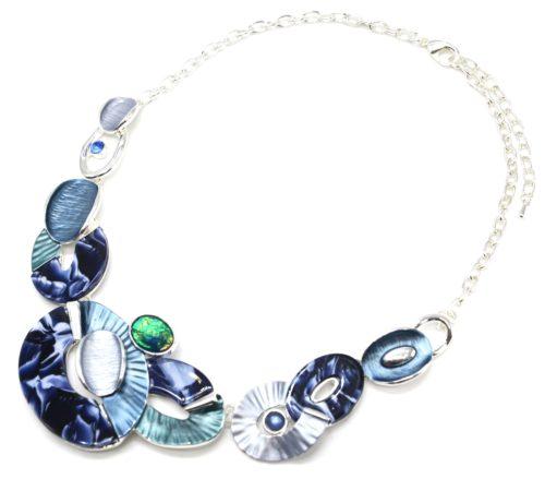 Collier-Plastron-Multi-Ovales-Email-Bleu-Resine-Motif-Peint-et-Metal-Argente