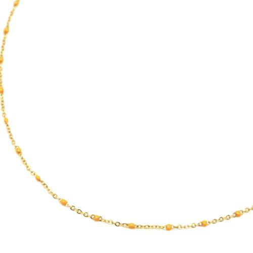 Collier-Fine-Chaine-Acier-Dore-et-Mini-Perles-Email-Jaune-Orange