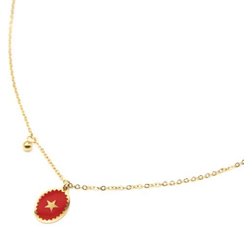 Collier-Fine-Chaine-Acier-Dore-avec-Ovale-Email-Rouge-Motif-Etoile