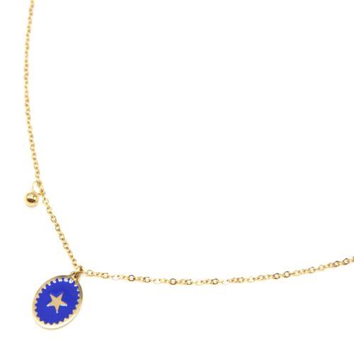 Collier-Fine-Chaine-Acier-Dore-avec-Ovale-Email-Bleu-Motif-Etoile