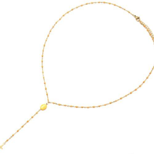 Collier-Chapelet-Fine-Chaine-Mini-Perles-Email-Jaune-Orange-avec-Pierre-et-Croix-Acier-Dore