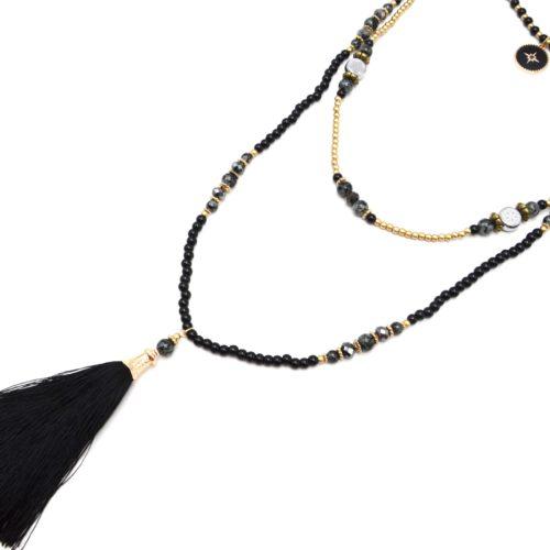 Sautoir-Collier-Triple-Rangs-Perles-Verre-avec-Cercle-Etoile-Polaire-et-Pompon-Noir