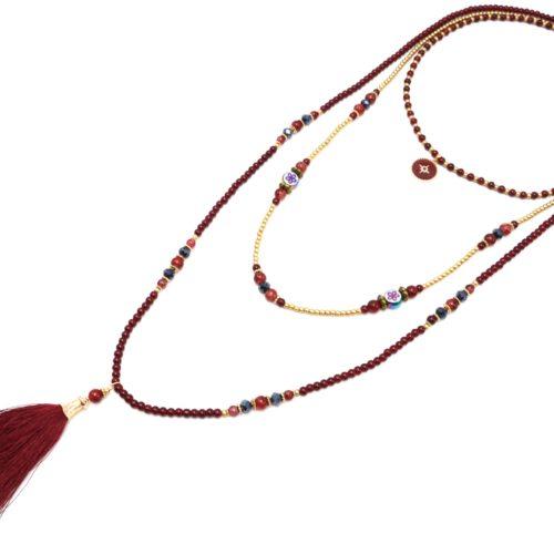 Sautoir-Collier-Triple-Rangs-Perles-Verre-avec-Cercle-Etoile-Polaire-et-Pompon-Bordeaux