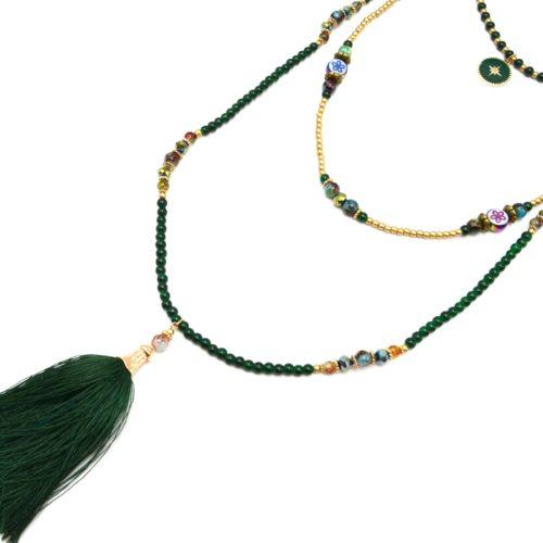 Sautoir-Collier-Triple-Rangs-Perles-Verre-avec-Cercle-Etoile-Polaire-et-Pompon-Vert-Sapin