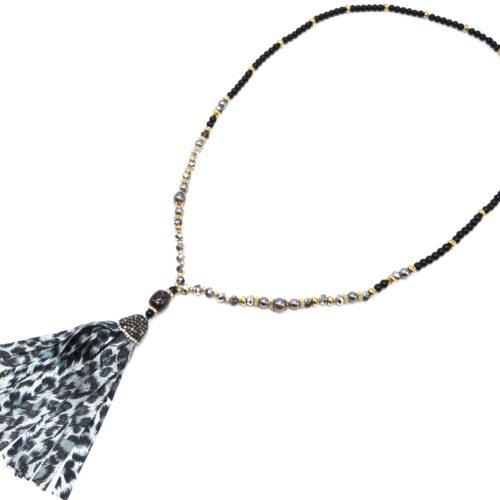 Sautoir-Collier-Perles-Verre-et-Brillantes-avec-Pierre-et-Pompon-Leopard-Gris