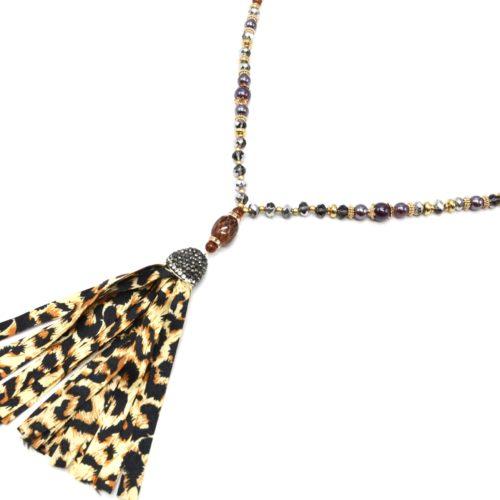 Sautoir-Collier-Perles-Verre-et-Brillantes-avec-Pierre-et-Pompon-Leopard-Beige