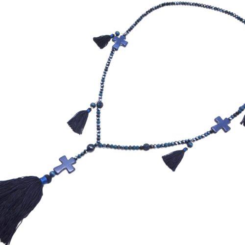 Sautoir-Collier-Perles-Brillantes-avec-Triple-Croix-Pierres-et-Pompons-Fils-Bleu-Nuit
