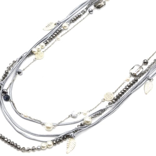 Sautoir-Collier-Multi-Rangs-Perles-Brillantes-Cordons-Gris-avec-Feuilles-et-Perles-Ecru