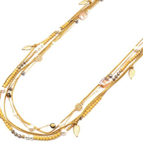 Sautoir-Collier-Multi-Rangs-Perles-Brillantes-Cordons-Moutarde-avec-Feuilles-et-Perles-Ecru