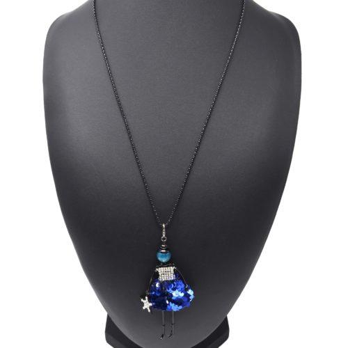 Sautoir-Collier-Pendentif-Poupee-Robe-Strass-et-Sequins-Bleu-avec-Etoile