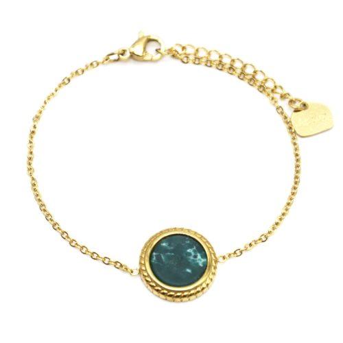 Bracelet-Fine-Chaine-avec-Charm-Pierre-Marbre-Vert-Contour-Acier-Dore