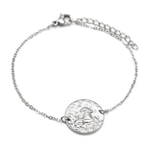 Bracelet-Charm-Medaille-Signe-Astro-Capricorne-Acier-Argente