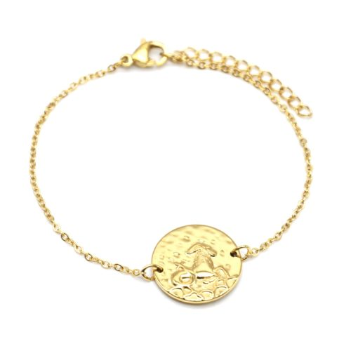 Bracelet-Charm-Medaille-Signe-Astro-Capricorne-Acier-Dore