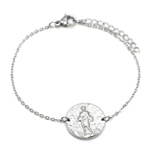 Bracelet-Fine-Chaine-Acier-Argente-avec-Charm-Medaille-Verseau-Signe-Zodiaque